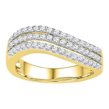10kt Yellow Gold Womens Round Diamond Triple Row Contoured Band Ring 1/2 Cttw