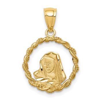 14K Brushed & Polished Diamond-cut Virgin Mary Pendant