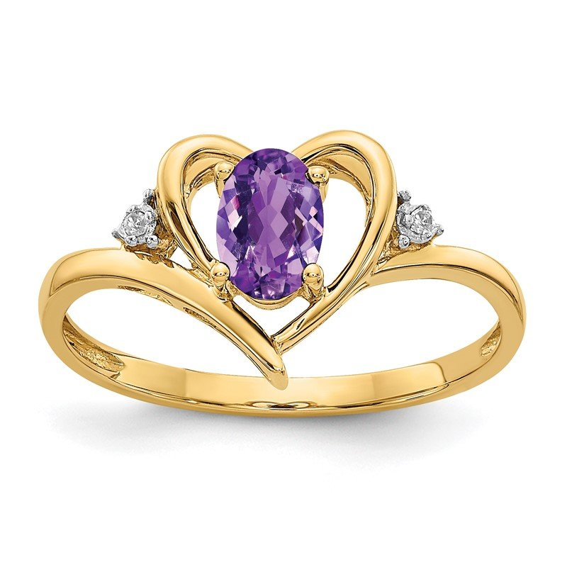Quality Gold 14k Amethyst and Diamond Heart Ring
