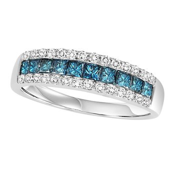 14K Blue & White Diamond Band 1 ctw