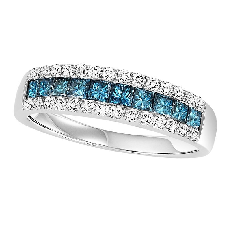 Bridal Bells 14K Blue & White Diamond Band 1 ctw