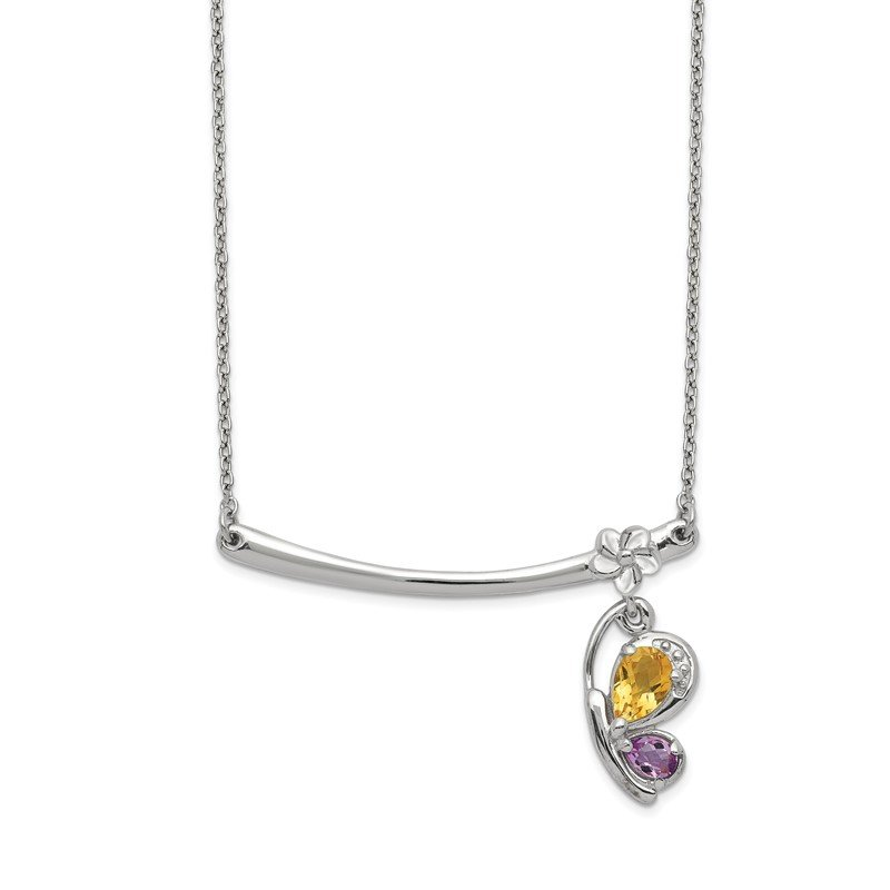 Quality Gold Sterling Silver Rhd-plat Citrine Pink Amethyst Butterfly w/2in ext. Necklac