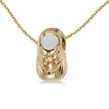 10k Yellow Gold Round Opal Baby Bootie Pendant