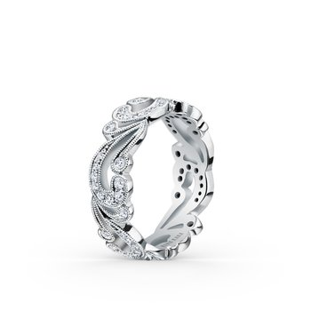 Romantic Waves Diamond Swirl Wedding Band
