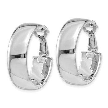 14k White Gold 7.75mm Omega Back Hoop Earrings