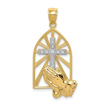 14K w/ Rhodium Praying Hands Pendant