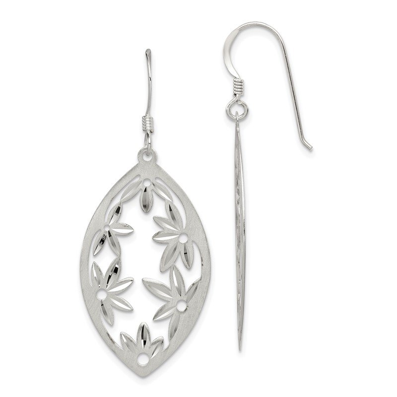 Quality Gold Sterling Silver Polished Satin Floral Diamond-cut Dangle Earrings