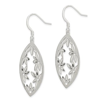 Sterling Silver Polished Satin Floral Diamond-cut Dangle Earrings
