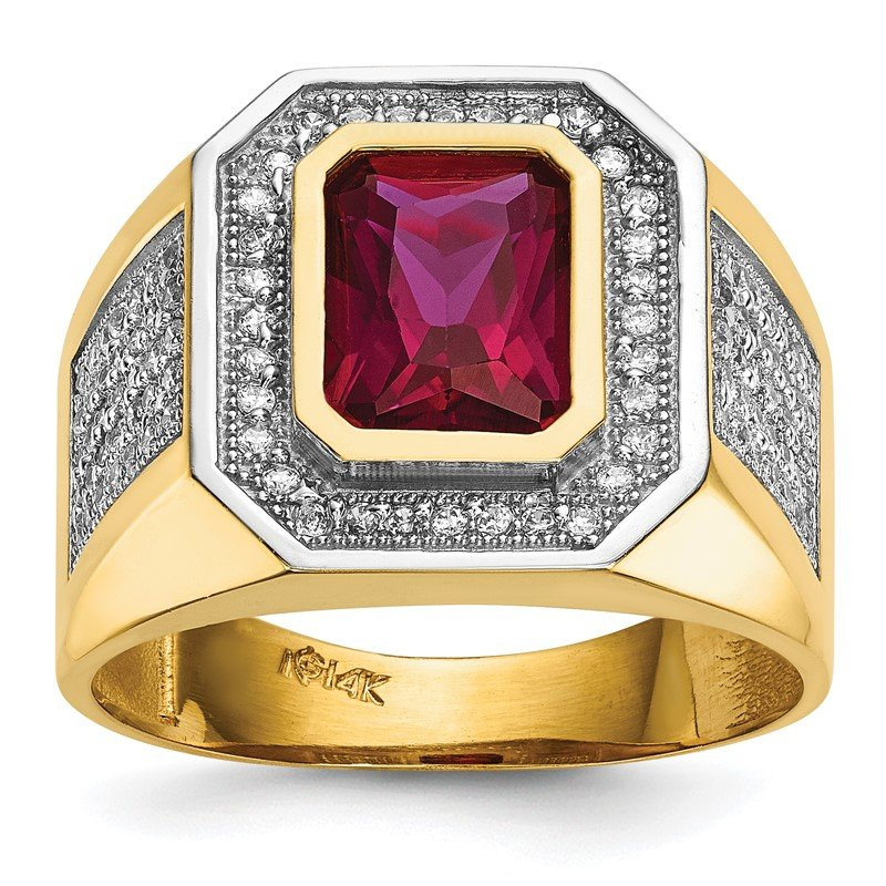 Quality Gold 14k CZ & Emerald-cut Red CZ Mens Ring