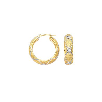 10K Gold Diamond Cut X Hoop Earring