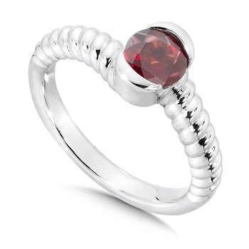Sterling Silver Garnet Colore Of Life Stack Ring