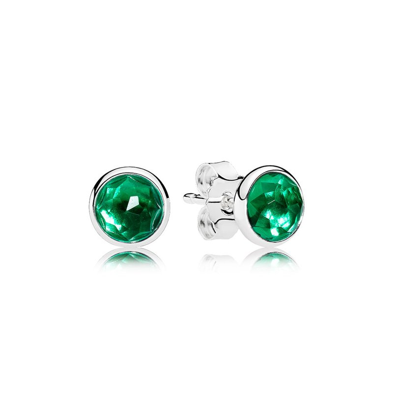 PANDORA May Droplets Stud Earrings, Royal-Green Crystal