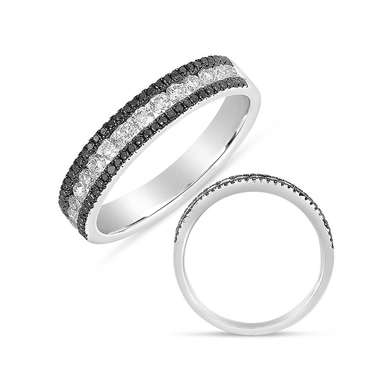 S. Kashi  & Sons Black & White Diamond Fashion Band