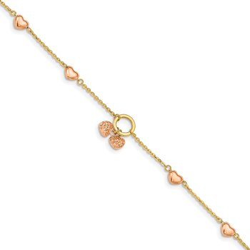 14k Two-tone Diamond-cut Hearts w/1in Ext. Bracelet