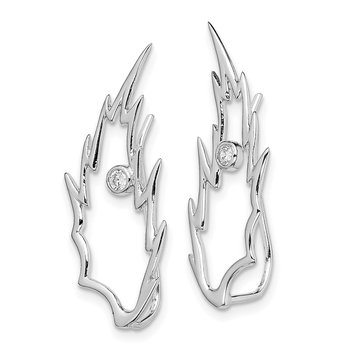 Sterling Silver Rhodium-plated CZ Ear Climber Earrings