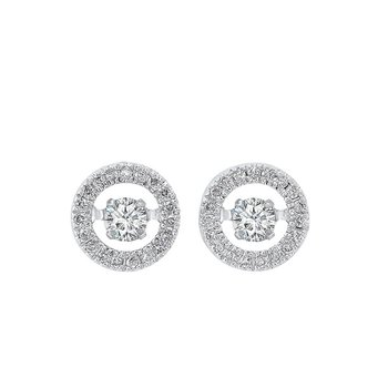 14K White Gold Rhythm of Love Halo Prong Diamond Earrings 1/4CT