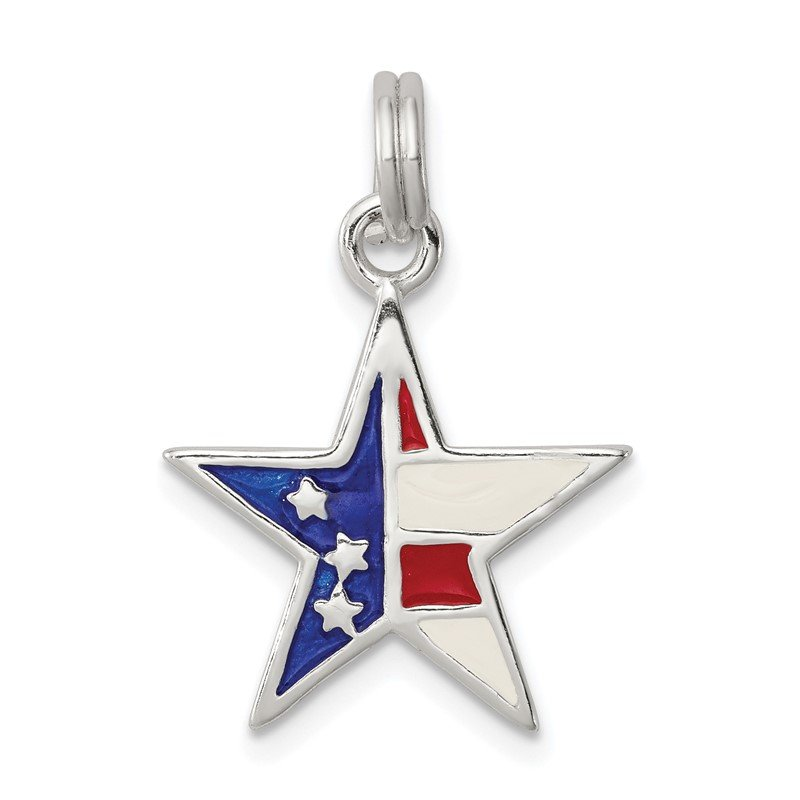 Quality Gold Sterling Silver Enameled Red, White & Blue Star Charm