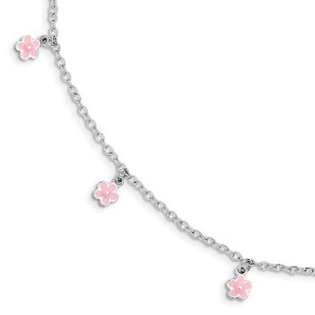 Sterling Silver 5.5in Plus 1.5in ext Pink Enamel Flower Kid's Bracelet