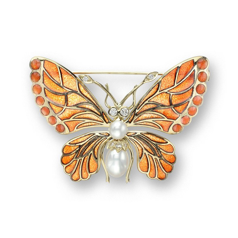 Nicole Barr Designs Orange Butterfly Brooch.18K -Diamonds and Freshwater Pearls - Plique-a-Jour