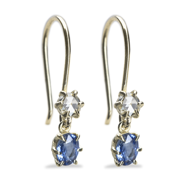 Primary Blue Sapphire and Diamond Earrings