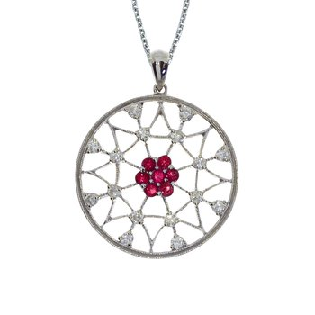 14k White Gold Ruby and Diamond Spider Web Pendant