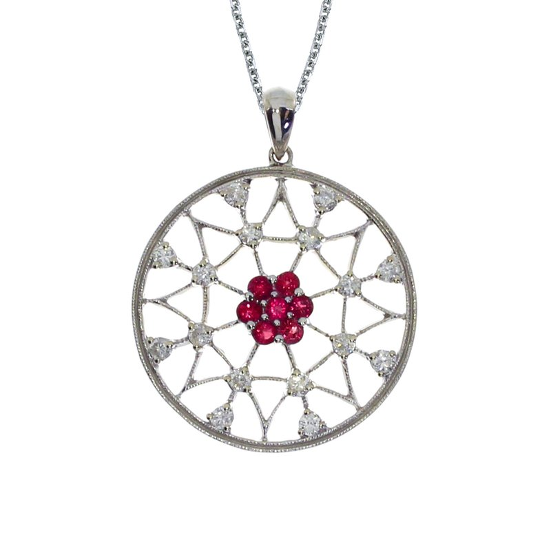 Color Merchants 14k White Gold Ruby and Diamond Spider Web Pendant