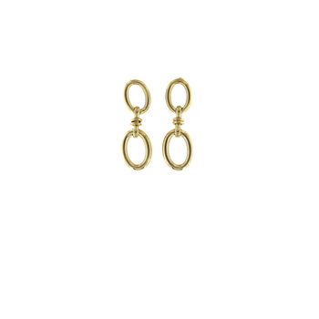 18KT GOLD LARGE OVAL DROP EARRINGS