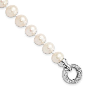 Sterling Silver Rhodium-plated 9-10mm White FWC Pearl CZ Fancy Bracelet