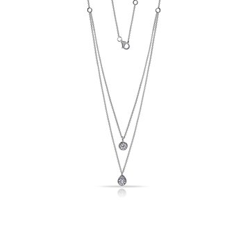 "14K drop Necklace with 19 Diamonds 0.27C 18"" chain"