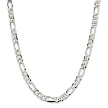 Sterling Silver 8.5mm Lightweight Flat Figaro Chain
