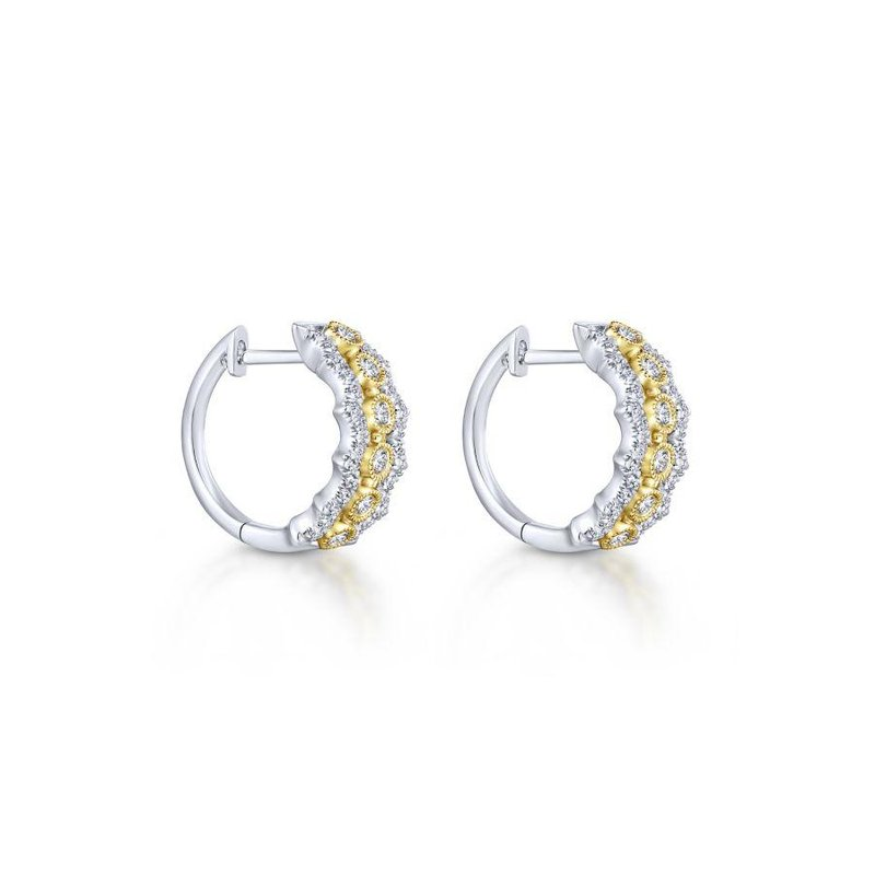 Gabriel Fashion Top Picks 14K Yellow-White Gold 10mm Wide Diamond Huggie Earrings