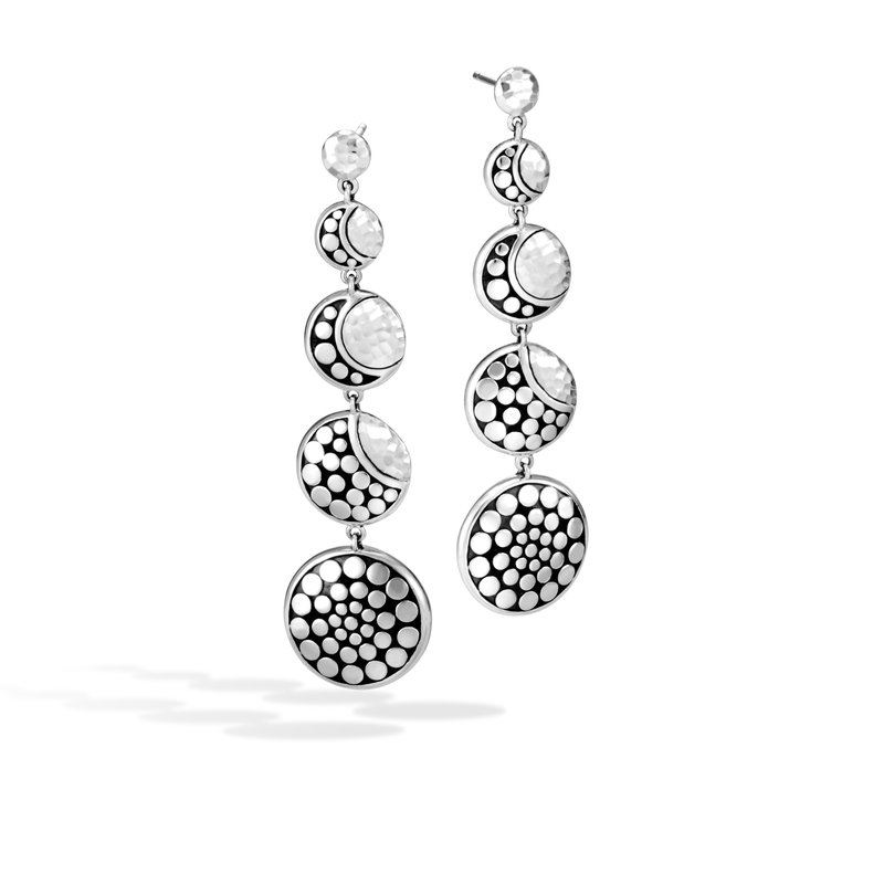 JOHN HARDY Dot Moon Phase Drop Earring in Hammered Silver