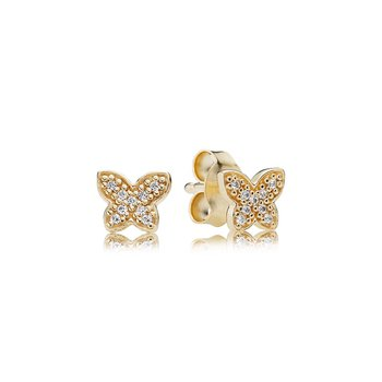 Petite Butterfly Stud Earrings, Clear CZ, 14K Gold
