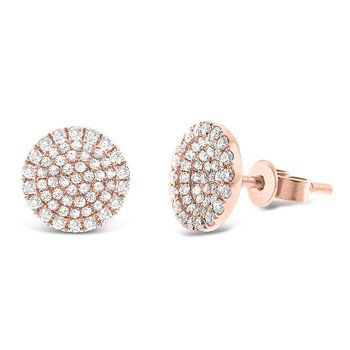 Diamond Disc Earrings in 14k Rose Gold with 110 Diamonds weighing .50ct tw.