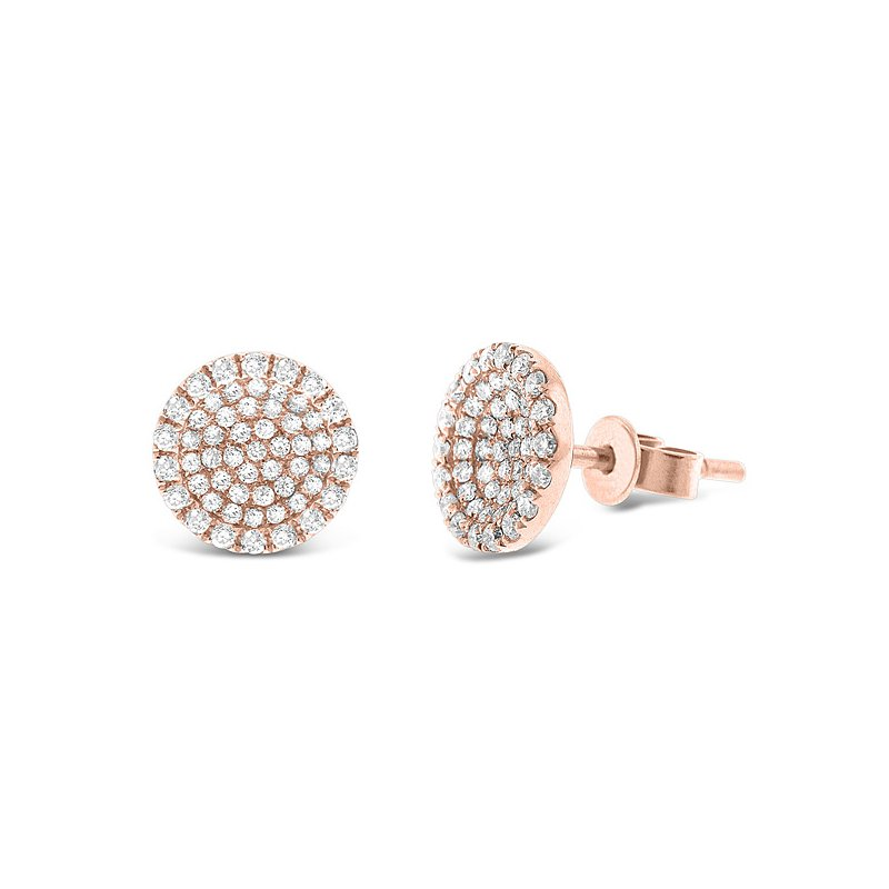 KC Designs Diamond Disc Earrings in 14k Rose Gold with 110 Diamonds weighing .50ct tw.