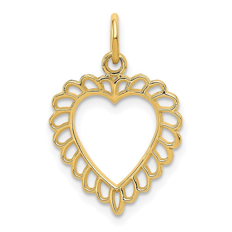 Quality Gold 14K Polished Border Cut-out Heart Pendant