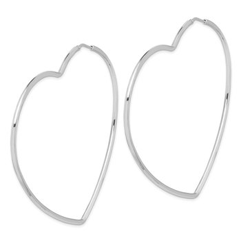 Sterling Silver Rhodium-Plated 2mm Heart Hoop Earrings