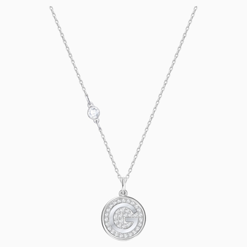 Letter G Pendant, White, Rhodium plating