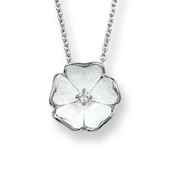 White Rose Necklace.Sterling Silver-White Sapphire