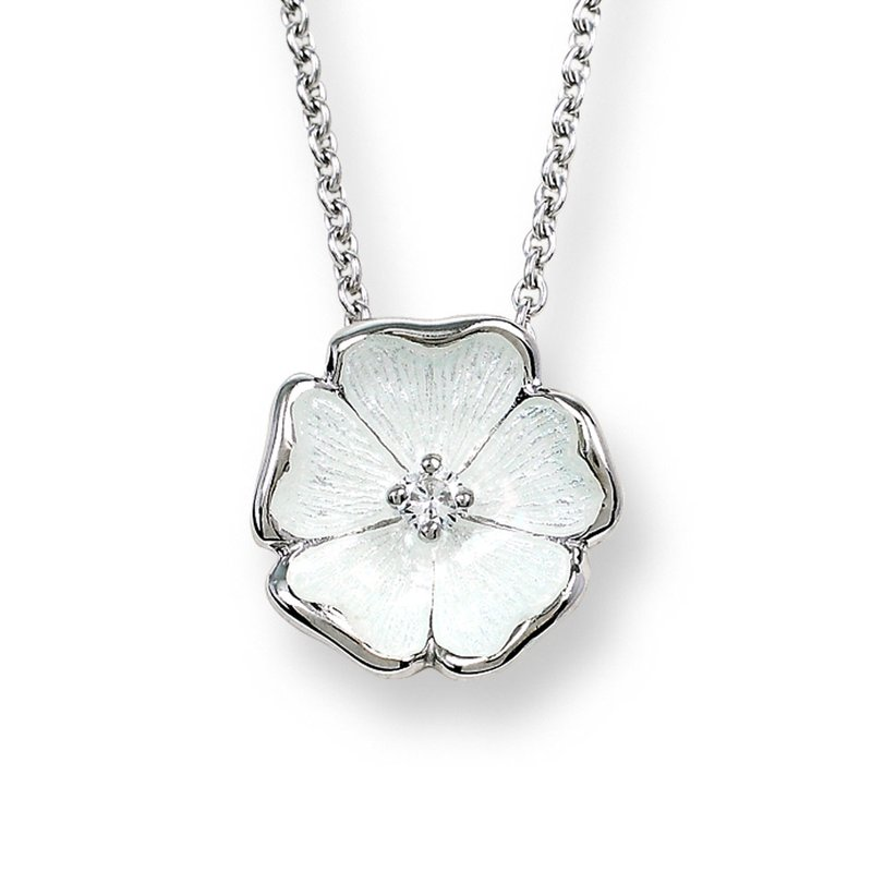 Nicole Barr Designs White Rose Necklace.Sterling Silver-White Sapphire