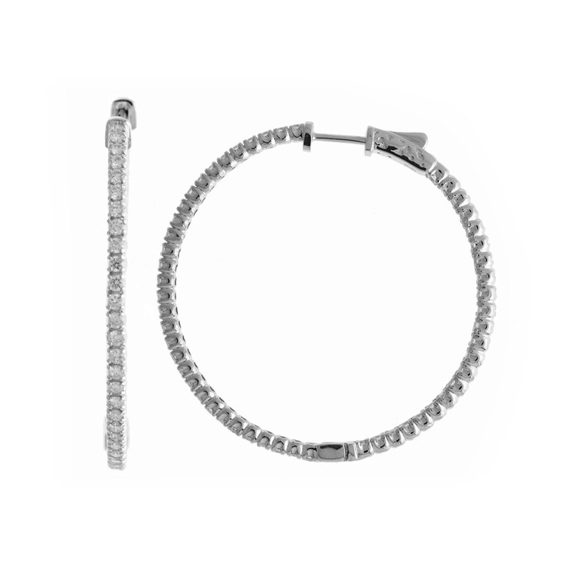 14K 2ct White Gold Diamond Secure Lock 43 mm Hoop Earrings