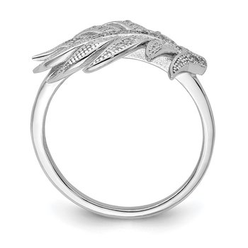 Sterling Silver Rhodium-plated CZ Leaf Ring