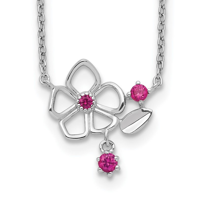 Quality Gold Sterling Silver Rhodium-plated Pink CZ Flower w/2in. Ext. Necklace