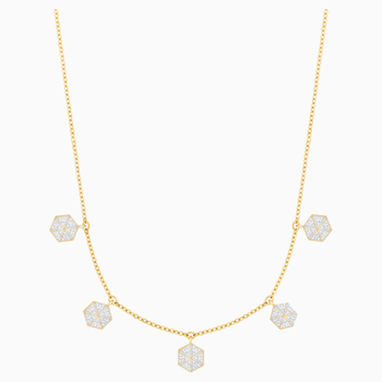 Lisabel Choker, White, Gold-tone plated