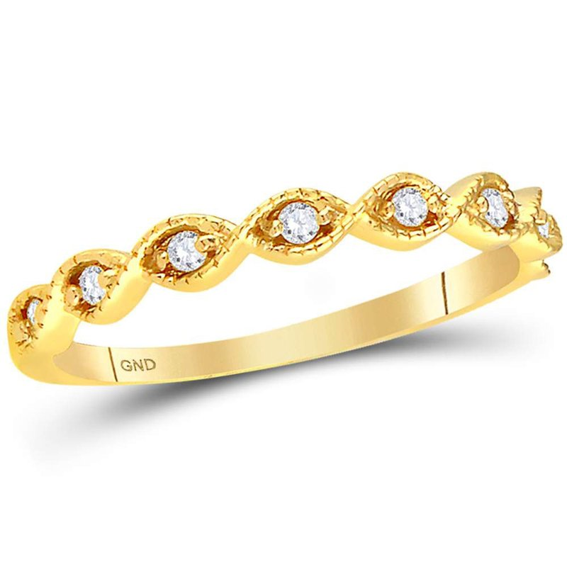 Gold-N-Diamonds, Inc. (Atlanta) 14kt Yellow Gold Womens Round Diamond Stackable Band Ring 1/10 Cttw