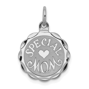 Sterling Silver Rhodium-plated Special Mom Disc Charm