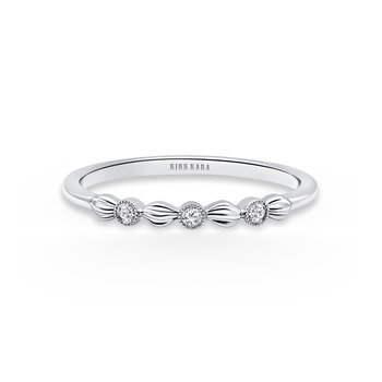Kirk Kara 14K White Gold Diamond Floral Stackable Thin Band