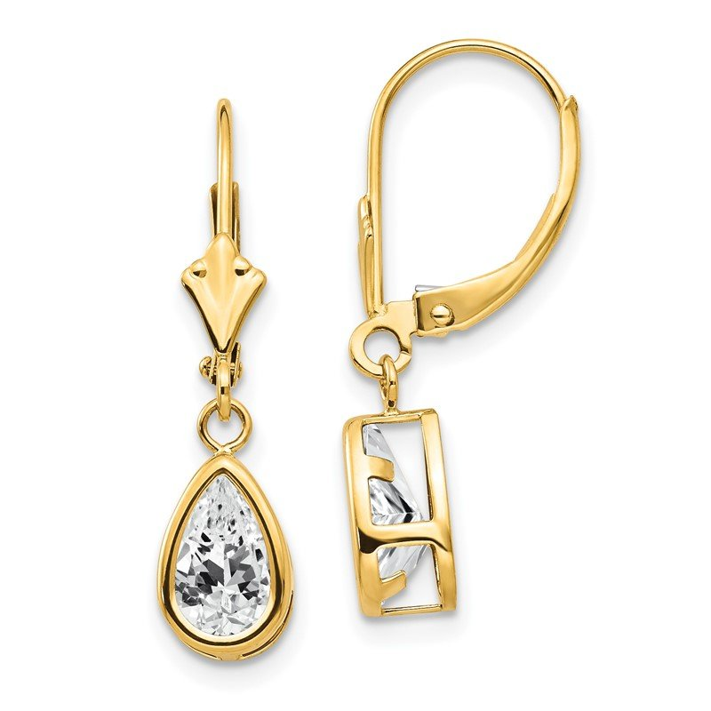 Quality Gold 14k 8x5mm Pear Cubic Zirconia Leverback Earrings