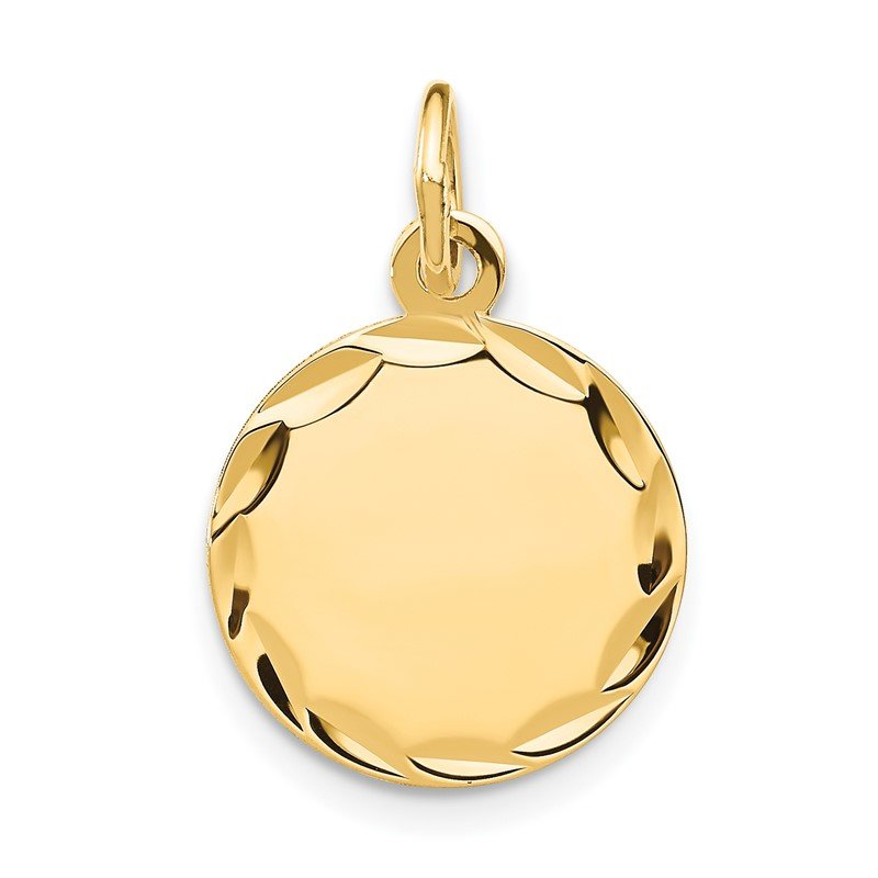 Quality Gold 14k Etched .027 Gauge Engravable Round Disc Charm