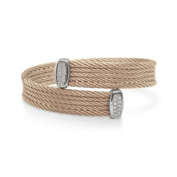 Carnation Bypass Bracelet with 18tk White Gold & Diamonds